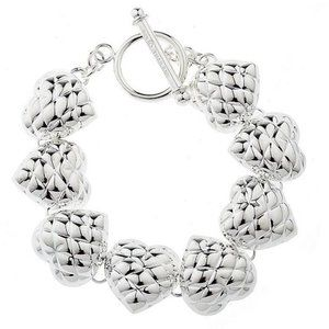 """QVC Sterling Silver Quilted Heart 7.25"""" Bracelet"""